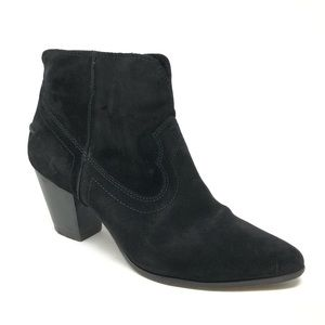 Frye Black Suede Western Ankle Boots Booties 11